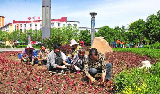 园林工人正在种花。